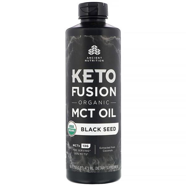 Dr. Axe / Ancient Nutrition, Keto Fusion 有機 MCT 油,黑草子,16 液量盎司(473 毫升)