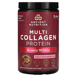 Dr. Axe / Ancient Nutrition, Multi Collagen Protein, Beauty Within, Guava Passionfruit , 9.74 oz (276 g)