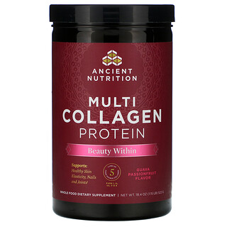 Dr. Axe / Ancient Nutrition, Multi Collagen Protein, Beauty Within, Guava Passionfruit, 1.15 lb (522 g)