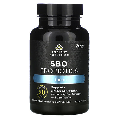 Dr. Axe / Ancient Nutrition SBO Probiotics, Ultimate, 50 Billion CFU, 60 Capsules
