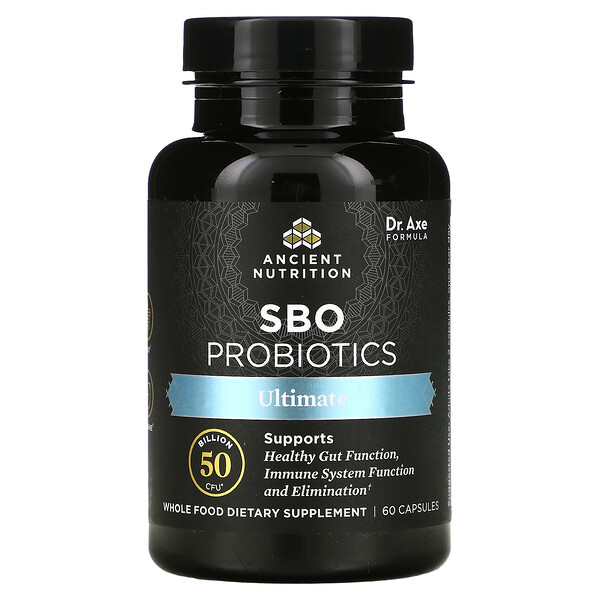 Dr. Axe / Ancient Nutrition, SBO Probiotics, Ultimate, 50 Billion CFU, 60 Capsules