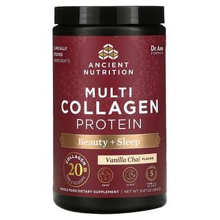 Dr. Axe / Ancient Nutrition, Multi Collagen Protein, Beauty + Sleep, Vanilla Chai, 8.47 oz (240 g)