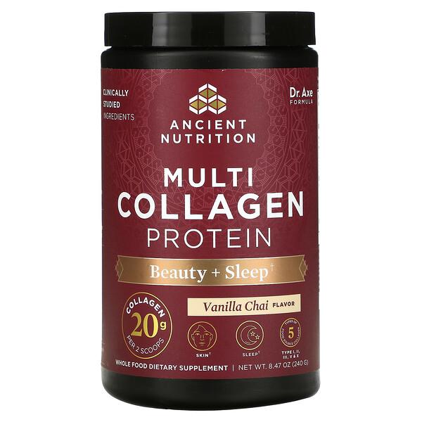 Multi Collagen Protein, Beauty + Sleep, Vanilla Chai, 8.47 oz (240 g)