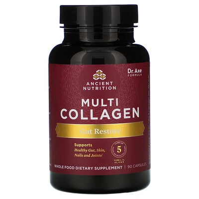 Dr. Axe / Ancient Nutrition Multi Collagen, Gut Restore, 90 Capsules