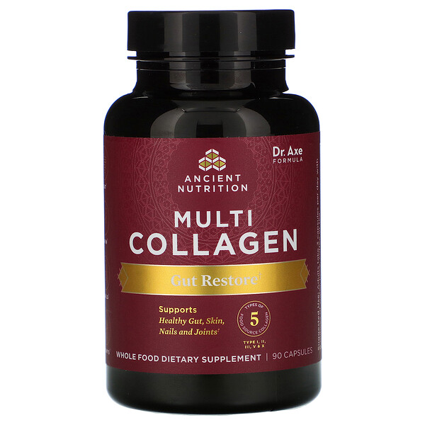 Dr. Axe / Ancient Nutrition, Multi Collagen, Gut Restore, 90 Capsules