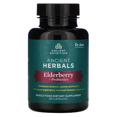 Dr. Axe / Ancient Nutrition Ancient Herbals, Elderberry + Probiotics, 60 Capsules