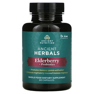 Dr. Axe / Ancient Nutrition, Ancient Herbals, Elderberry + Probiotics, 60 Capsules