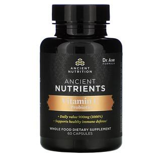 Dr. Axe / Ancient Nutrition, Nutrientes ancestrales, VitaminaC más probióticos, 60cápsulas