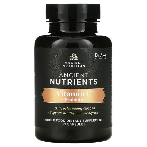 Ancient Nutrients, Vitamin C + Probiotics, 60 Capsules