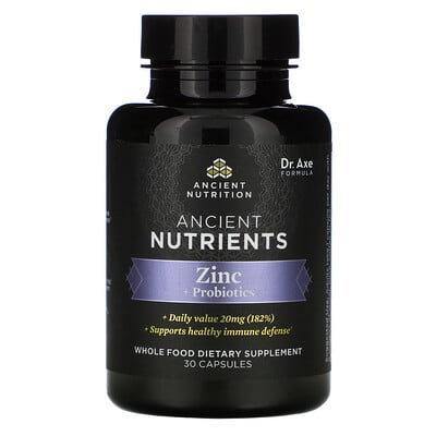 Dr. Axe / Ancient Nutrition Ancient Nutrients, Zinc + Probiotics, 30 Capsules