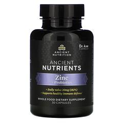 Dr. Axe / Ancient Nutrition, 古代營養素,鋅 + 益生菌,30 粒膠囊