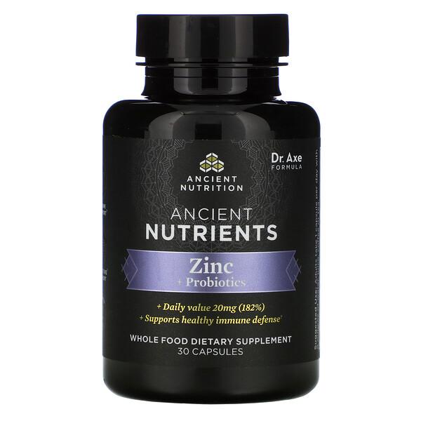 Ancient Nutrients, Zinc + Probiotics, 30 Capsules