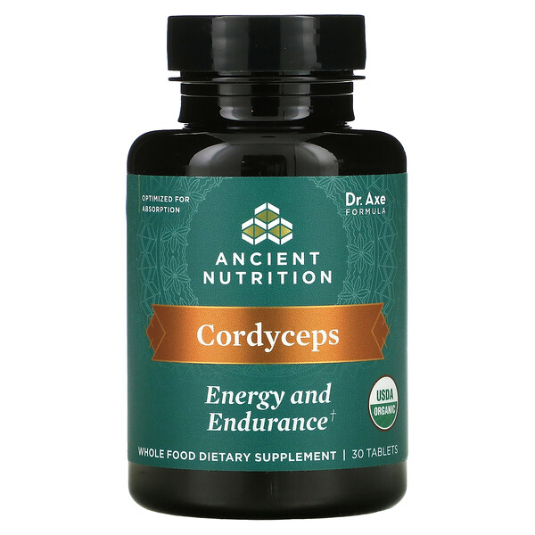Dr. Axe / Ancient Nutrition, Cordyceps, Energy and Endurance, 30 Tablets