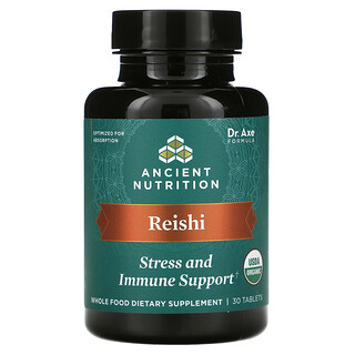 Dr. Axe / Ancient Nutrition, Reishi, Stress and Immune Support, 30 Tablets