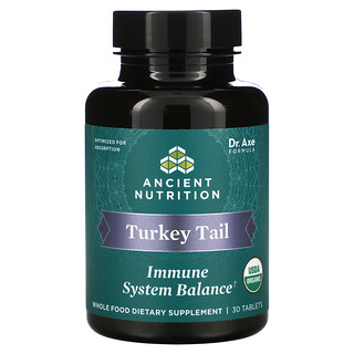 Dr. Axe / Ancient Nutrition, Turkey Tail, Immune System Balance, 30 Tablets