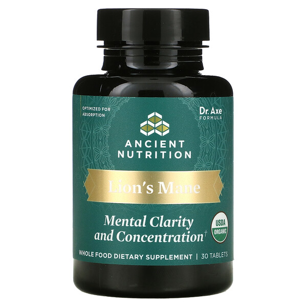 Dr. Axe / Ancient Nutrition, Lion's Mane, Mental Clarity And Concentration, 30 Tablets