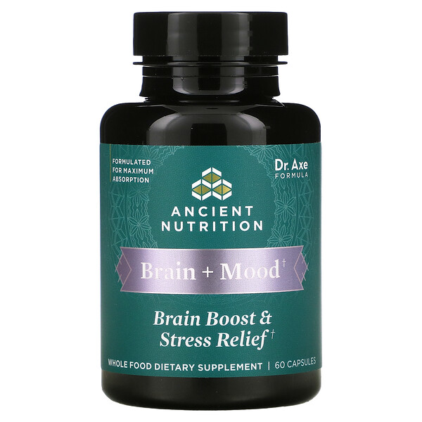 Dr. Axe / Ancient Nutrition, Brain + Mood, Brain Boost & Stress Relief, 60 Capsules