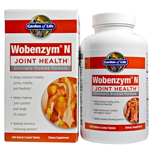 Wobenzym, N, здоровье суставов, 400 таблеток, покрытых желудочно-резистентной оболочкой