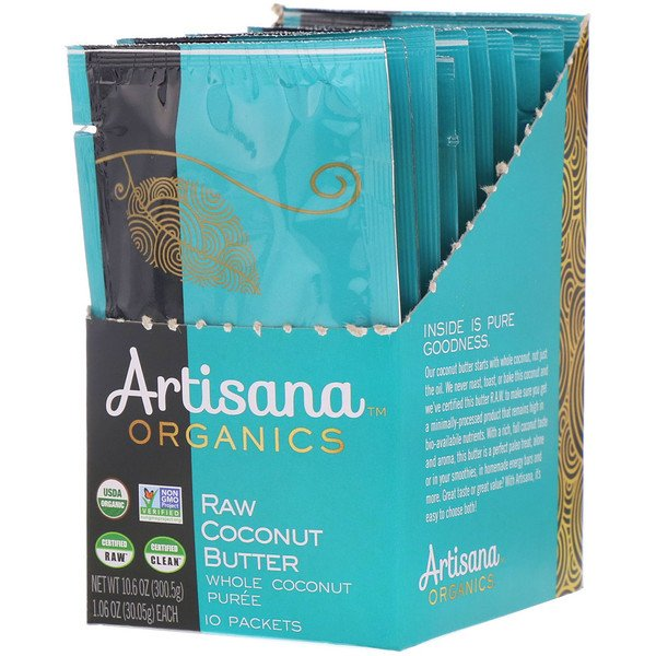 Artisana, Organics, Raw Coconut Butter, 10 Packets, 1.06 oz (30.05 g) Each (Discontinued Item)
