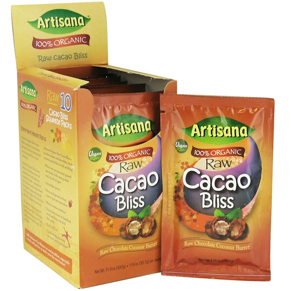 Artisana, 100% Organic Raw Cacao Bliss, Raw Chocolate Coconut Butter, 10 Packets, 1.19 oz (33.7 g) Each (Discontinued Item)
