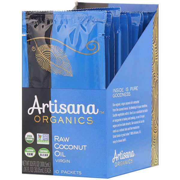 Artisana, Organics, Raw Coconut Oil, Virgin, 10 Packets, 1.06 fl oz (30.05 ml) Each (Discontinued Item)