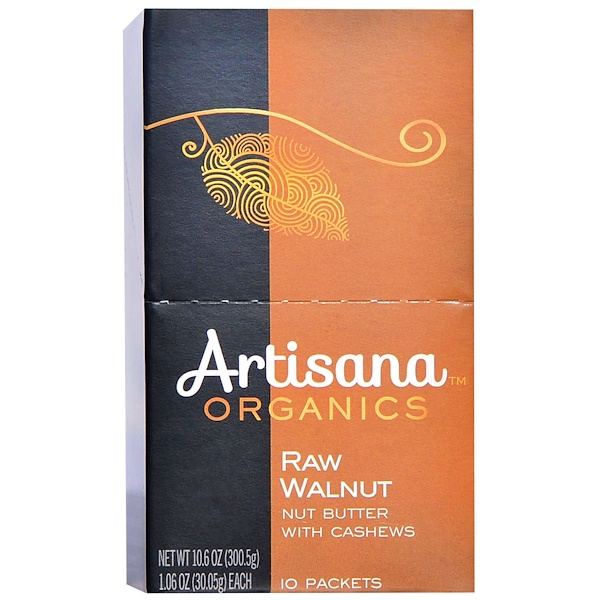 Artisana, 有機生クルミバター, 10パケット, 各1.06オンス(30.05 g) (Discontinued Item)