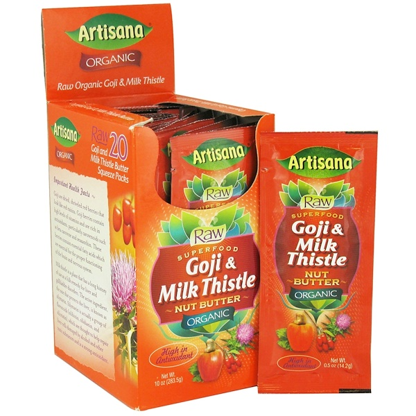 Artisana, Organic Goji & Milk Thistle Nut Butter, 20 Packets, 0.5 oz (14.2 g) Each (Discontinued Item)