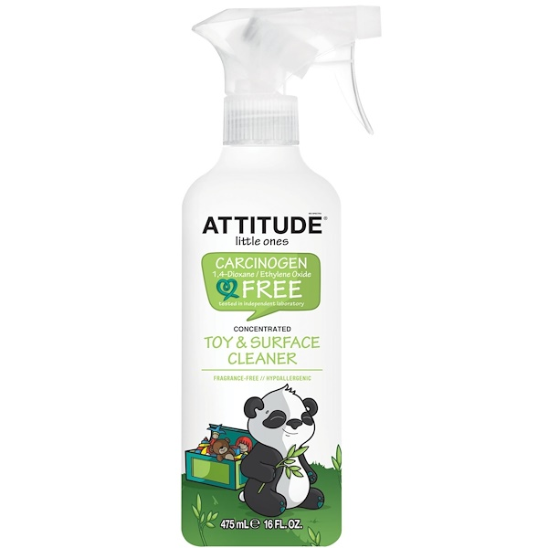 ATTITUDE, Little Ones, Toy & Surface Cleaner, Concentrated, Fragrance Free, 16 fl oz (475 ml) (Discontinued Item)