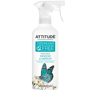 ATTITUDE, Concentrated Window & Mirror, Citrus Zest, 16 fl oz (475 ml)