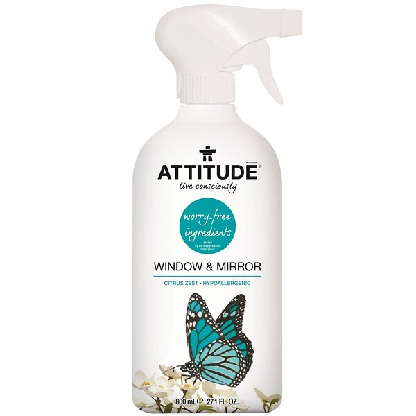 ATTITUDE, Window & Mirror, Citrus Zest, 27.1 fl oz (800 ml)