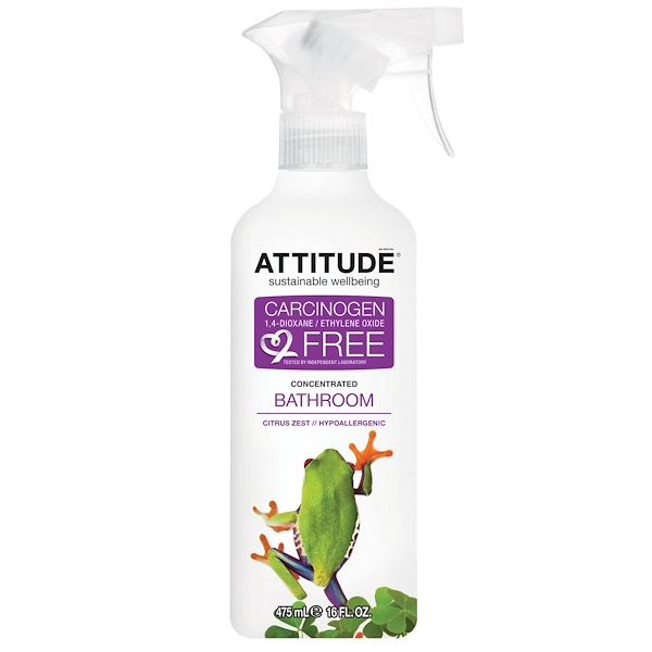 ATTITUDE, Concentrated Bathroom Cleaner, Citrus Zest, 16 fl oz (475 ml) (Discontinued Item)