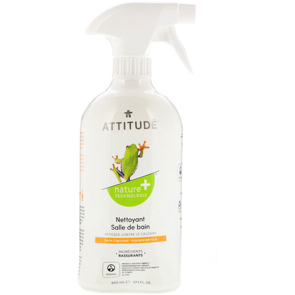 ATTITUDE, Bathroom Cleaner, Citrus Zest, 27.1 fl oz (800 ml) (Discontinued Item)
