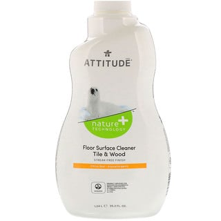 ATTITUDE, Floor Surface Cleaner, For Tile & Wood, Citrus Zest, 35.2 fl oz (1.04 l)