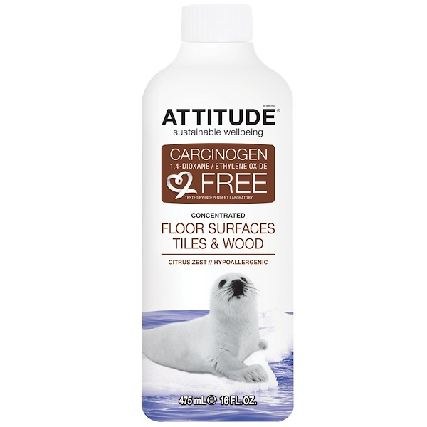 ATTITUDE, Concentrated Floor Surfaces Tiles & Wood, Citrus Zest, 16 fl oz (475 ml)