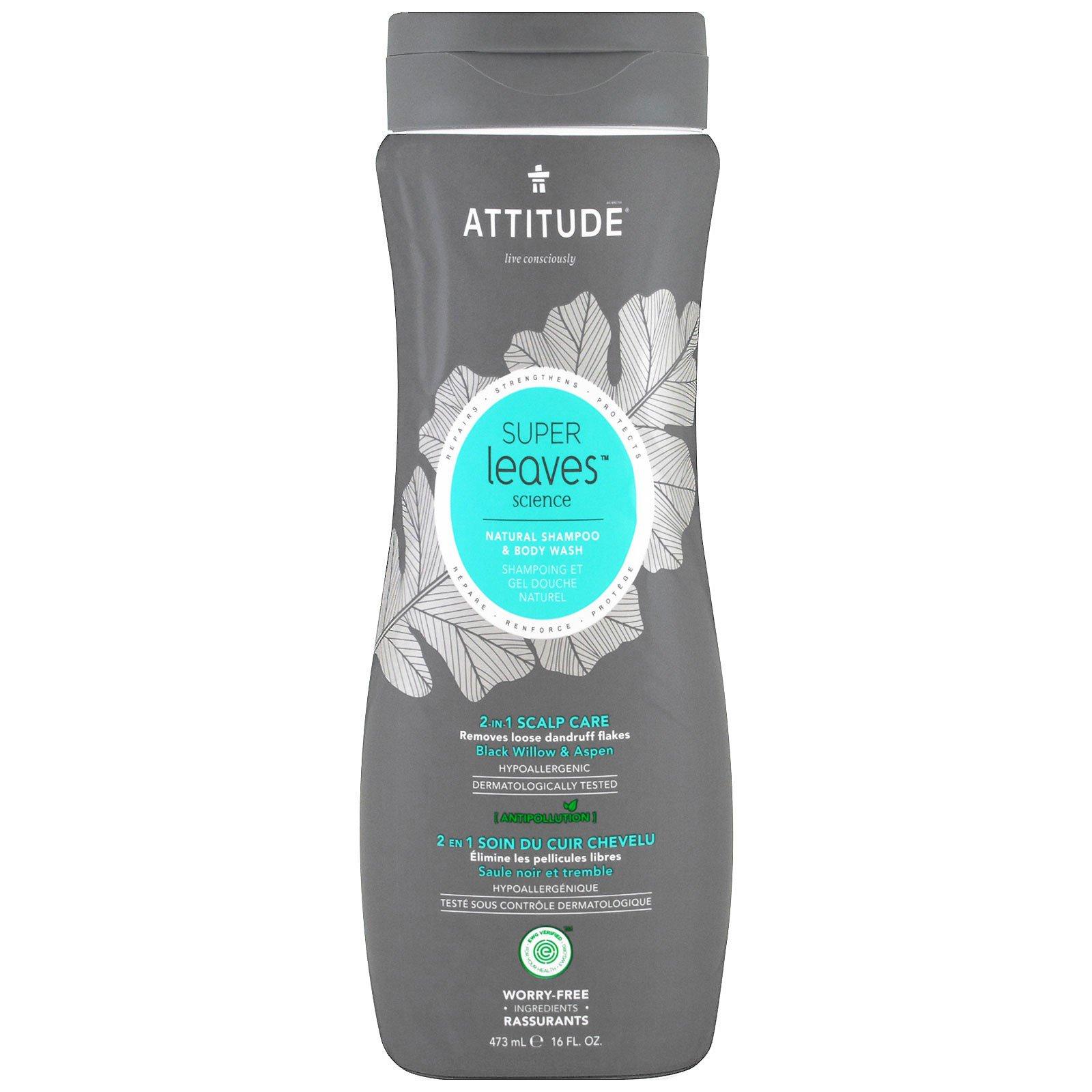 ATTITUDE, Super Leaves Science, Натуральный шампунь и гель для тела, 2 в 1 Уход за кожей головы, Осина и черная ива, 473 мл (16 oz)