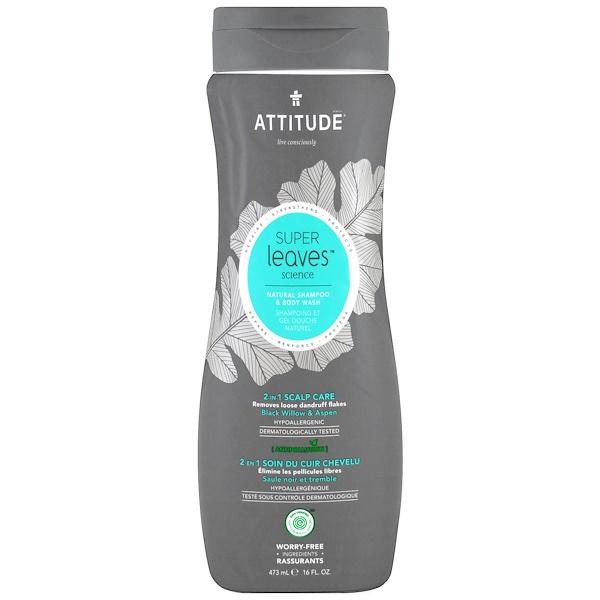 ATTITUDE, Super Leaves Science,天然洗髮水及沐浴露,2合1頭皮護理,黑柳和白楊,16盎司(473毫升)