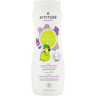 ATTITUDE, Little Leaves Science, 2-In-1 Shampoo & Body Wash, Vanilla & Pear, 16 fl oz (473 ml)