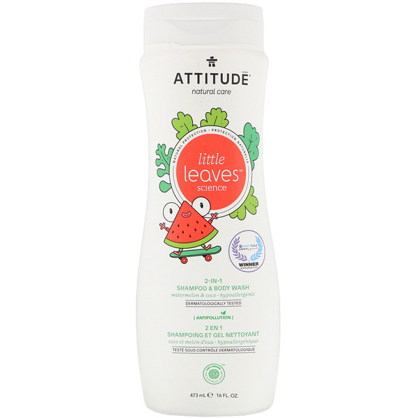 ATTITUDE, Little Leaves Science, champú y jabón líquido corporal 2 en 1, sandía y coco, 473 ml (16 oz. liq.) (Discontinued Item)