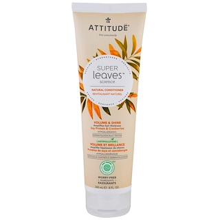 ATTITUDE, Super Leaves Science, Natural Conditioner, Volume & Shine, Soy Protein & Cranberries, 8 oz (240 ml)