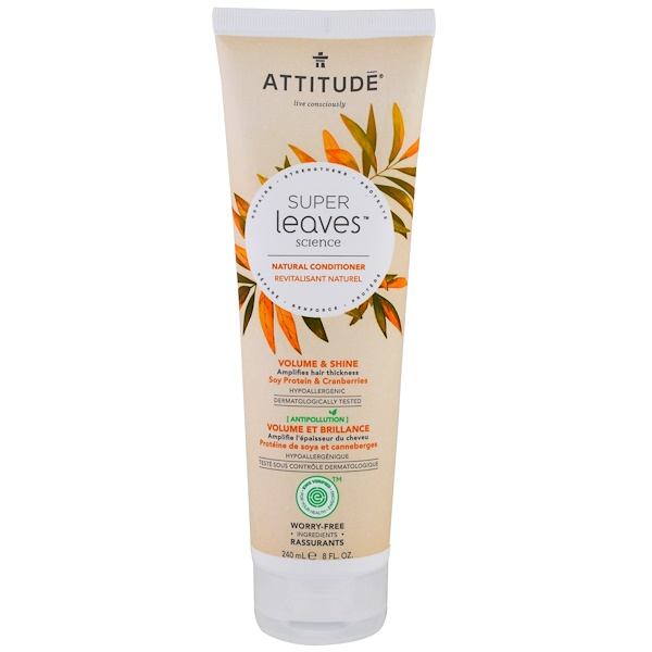 ATTITUDE, Super Leaves Science, Natural Conditioner, Volume & Shine, Soy Protein & Cranberries, 8 oz (240 ml) (Discontinued Item)