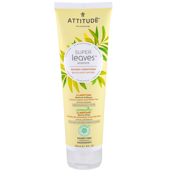 ATTITUDE, Super Leaves Science, Natural Conditioner, Clarifying, Lemon Leaves and White Tea, 8 oz (240 ml) (Discontinued Item)
