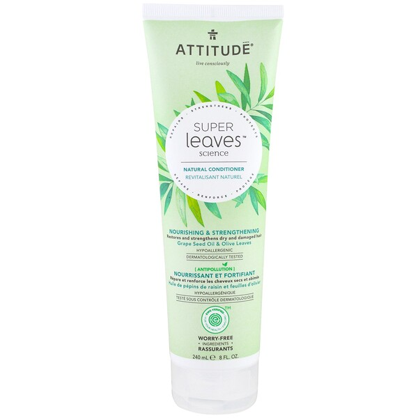 ATTITUDE, Super Leaves Science, Condicionador Natural, Nutritivo e Fortalecedor, Óleo de Semente de Uva e Folhas de Oliva, 8 oz (240 ml)