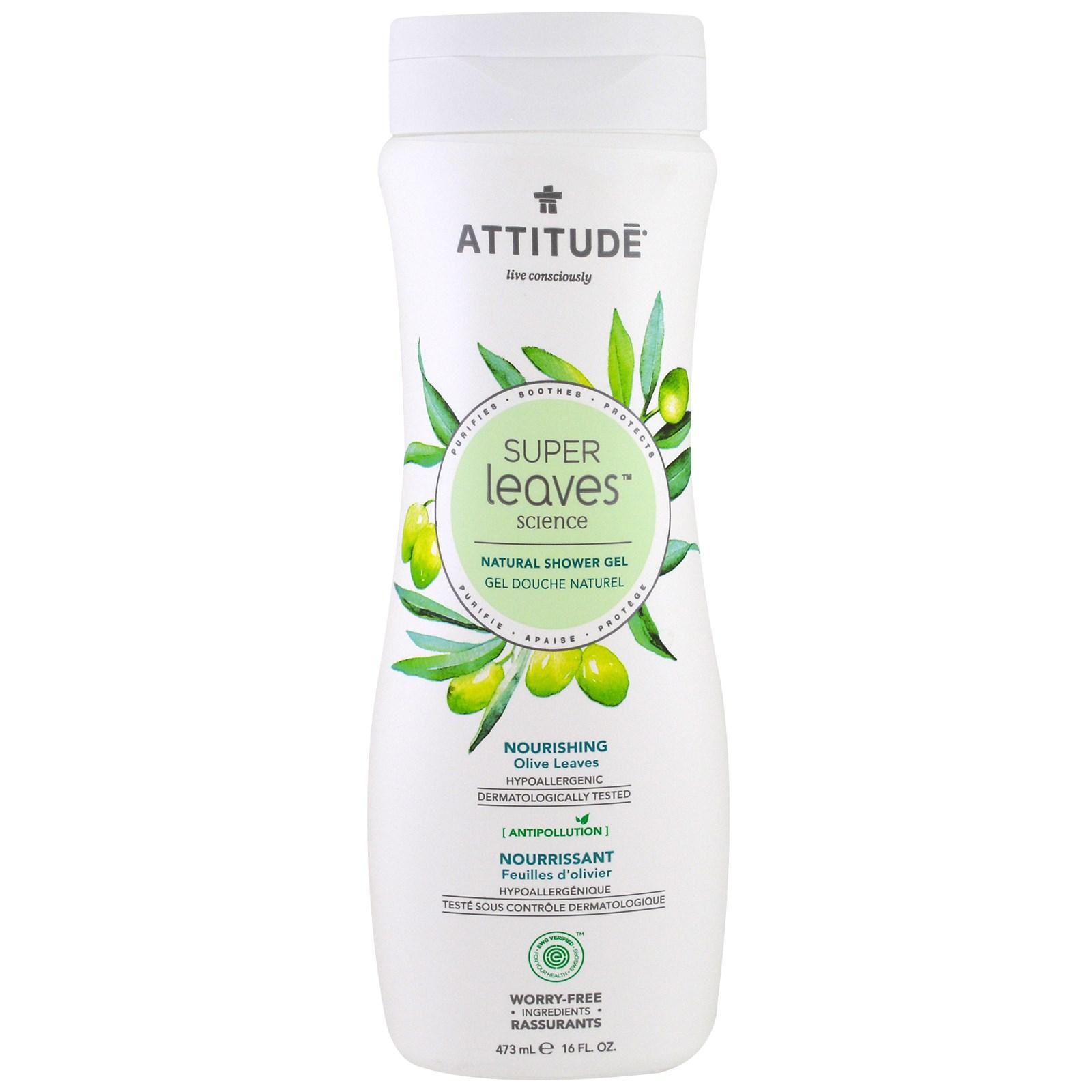 ATTITUDE, Super Leaves Science, натуральный гель для душа, питательный, оливковые листья, 16 унций (473 мл)