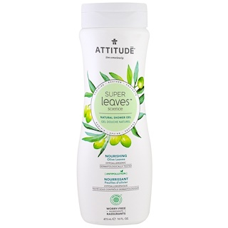 ATTITUDE, Super Leaves Science, Natural Shower Gel, Nourishing, Olive Leaves, 16 oz (473 ml)