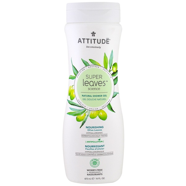 ATTITUDE, Super Leaves Science, Natural Shower Gel, Nourishing, Olive Leaves, 16 oz (473 ml) (Discontinued Item)