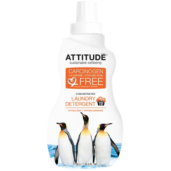 ATTITUDE, Concentrated Laundry Detergent, Citrus Zest, 70 Loads, 35.5 fl oz (1.05 l) (Discontinued Item)