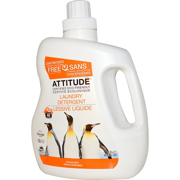 ATTITUDE, Laundry Detergent, Citrus Zest, 60.8 fl oz (1.8 l) (Discontinued Item)
