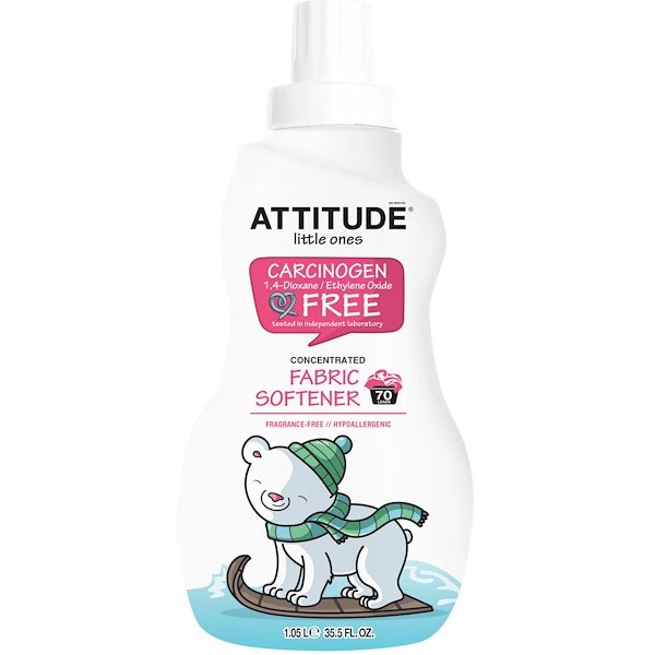 ATTITUDE, Little Ones, Concentrated Fabric Softener, Fragrance-Free, 70 Loads, 35.5 fl oz (1.05 l) (Discontinued Item)