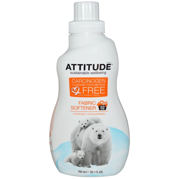 ATTITUDE, Fabric Softener, Citrus Zest, 26.3 fl oz (780 ml) (Discontinued Item)
