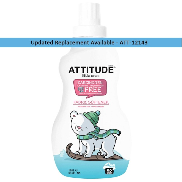 ATTITUDE, Little Ones, Fabric Softener, Fragrance Free, 52 Loads, 35.5 fl oz (1.05 L) (Discontinued Item)